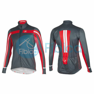 New Castelli Cycling Free 3 Jersey FZ Full Zip Long Sleeve Men's Grey Red M-XXXL