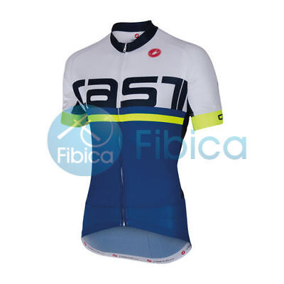 New Castelli Cycling Meta Jersey FZ Full Zip Men's White Blue M-XXL