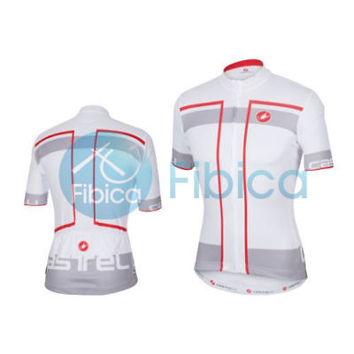 New Castelli Cycling Velocissimo Jersey FZ Full Zip Men's White M-XL