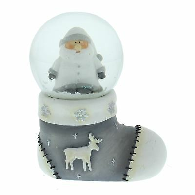 Hand Painted Santa in Christmas Stocking Base Snow Globe Winter Wonderland