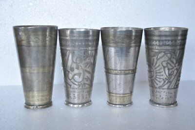4 Pc Old Brass Handcrafted Inlay Engraved Solid Lassi/Milk Glasses , Rich Patina