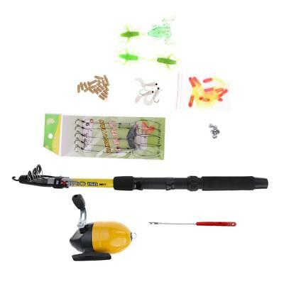1.5m Portable Fishing Rod & Reel Combo Fishing Pole with Hooks Sinkers Lures
