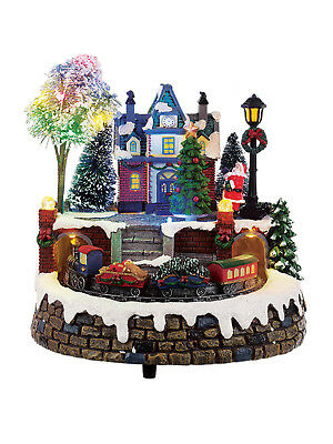 Christmas Village Scene Moving Train Fibre Optics Animated Light Up Sound LED
