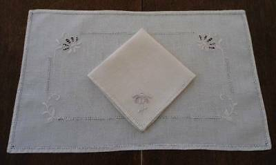 Vintage Linen Placemats Napkins Italian Cutwork Embroidered Daisies Set 6
