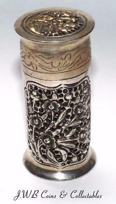 Antique / Vintage White Metal Cylindrical Box With Bird Decoration