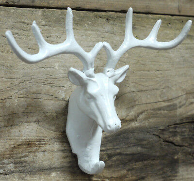 White Cast Iron Stag Head Single Coat Hook Wall Mounted Antler Deer Decoration