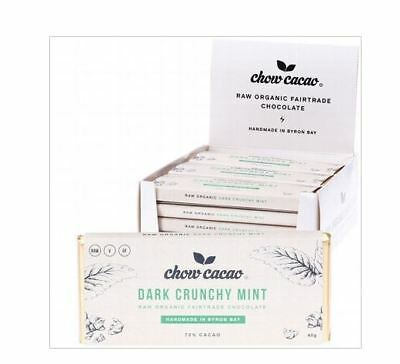 15x 40g CHOW CACAO Raw Organic Chocolate - Dark Crunchy Mint 15x40g