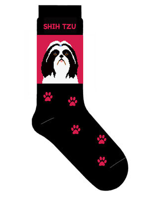 Shih Tzu Dog Socks Lightweight Cotton Crew Stretch Egyptian Made