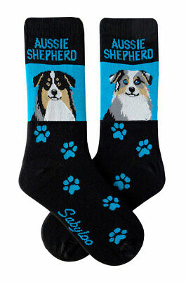 Australian Shepherd Socks Lightweight Cotton Crew Stretch Blue