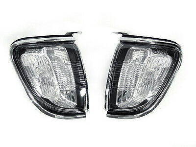 Depo Chrome Trim Clear Front Corner Lights Fit For 01 02 03 04 Toyota Tacoma