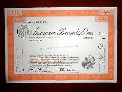 American Brands Inc  share certificate 1969