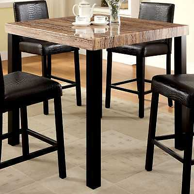 Furniture of America Dymen Contemporary Faux Marble Top Black Counter Height