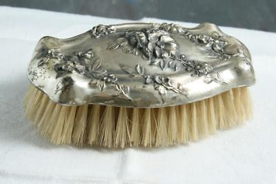 Antique Sterling Silver Victorian Repousse  Dresser Hair Brush
