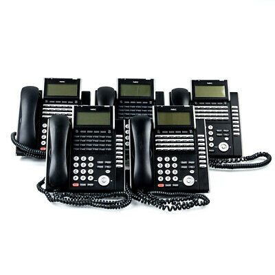 Lot of 5 NEC Model ILV(XD)Z-Y(BK) VoIP Phone, Factory Reset