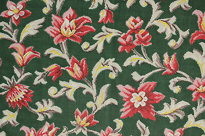 Vintage French green printed cotton Marignan material ~