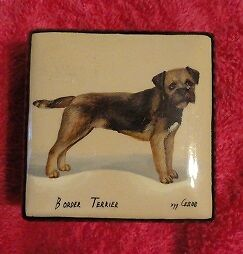 Border Terrier Small Square Russian Lacquer Trinket Box LAST ONE!