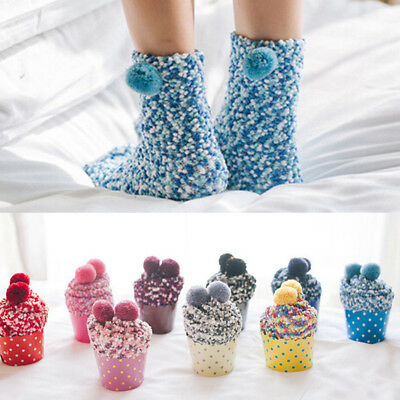23CM Ladies  Girls Soft Fluffy Socks Warm Winter Cosy Lounge Bed Socks 8Colors