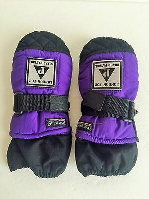 Youth size ages 4-7 winter ski snow mittens purple black London Fog Board patrol