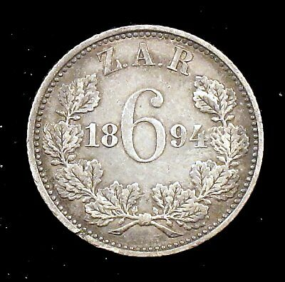 1894 Extremely Fine (XF) South Africa 92.5% Silver 6 Pence - sa9