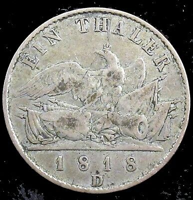 1818-D Very Good (VG) Prussia (German State) Silver Thaler - ge81
