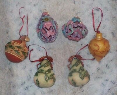 """Lot of 6 ornate pastel colored mixed Christmas ornaments, about 3"""" high, pears"""