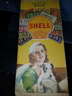 Early 1933 Shell Oil Gas Ohio Map License Plates