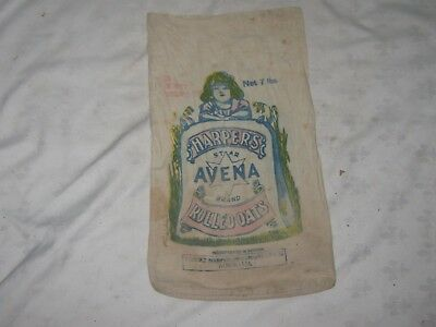 Old Harper's Star Avena Brand Rolled Oats 7 lb Calico Double Sided Printed Bag