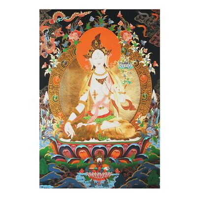 90x60cm Tibet Thangka Silk Cloth White Tara Buddha Buddhism Wall Hanging Decor