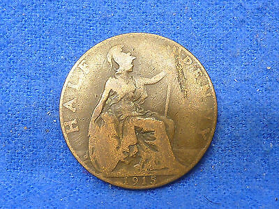 UK Great Britain,1915,Lot of 1 Coin,Half Penny Coin,Circulated