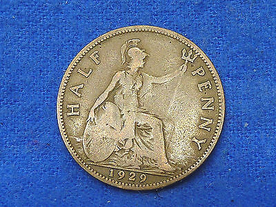 UK Great Britain,1929,Lot of 1 Coin,Half Penny Coin,Circulated