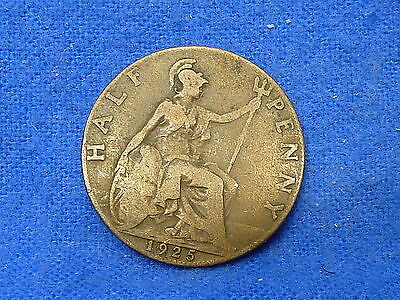 UK Great Britain,1925,Lot of 1 Coin,Half Penny Coin,Circulated
