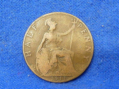 UK Great Britain,1911,Lot of 1 Coin,Half Penny Coin,Circulated