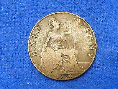UK Great Britain,1920,Lot of 1 Coin,Half Penny Coin,Circulated
