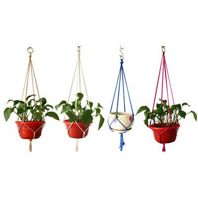 Vintage Macrame Plant Hanger Garden Flower Pot Holder Original Hanging Rope