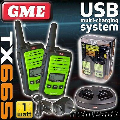 Gme Tx665Tp Handheld Uhf Two Way Compact Radio Walkie Twin Pack New 80Ch Green