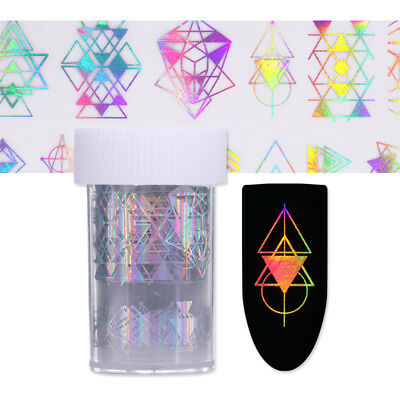 Holographic Nail Foils Geometry Pattern Nail Art Laser Transfer Stickers Decals