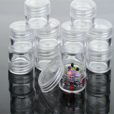 12pcs/box Clear Plastic Jewelry Beads Pills Storage Boxes Small Round Containers