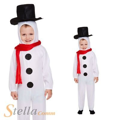 Child Toddler Snowman Costume Boys Girls Christmas Festive Fancy Dress Outfit