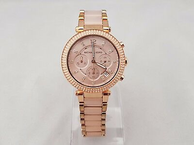 Michael Kors Mk5896 Ladies Parker Chronograph Watch Two Tone Pvd Rose Plated