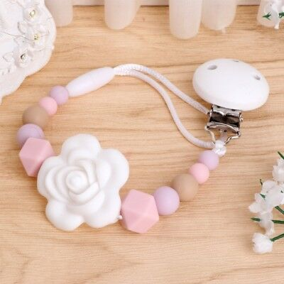 Baby Kids Girl Silicone Chain Clip Holders Pacifier Soother Nipple Strap Leash