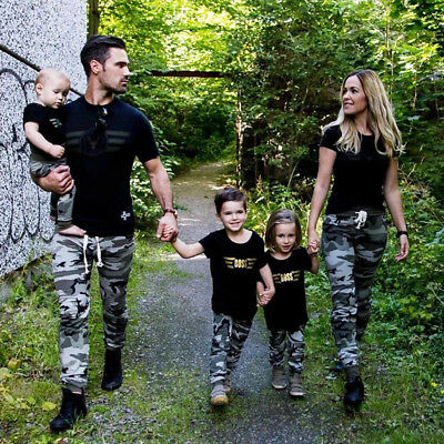 Family Matching Military Outfits Clothes Set Women Baby Kids T-shirt Tops+Pants