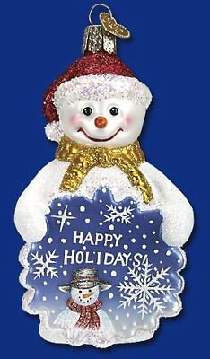 GLISTENING GREETINGS SNOWMAN Old World Christmas (24116) –NEW wTag