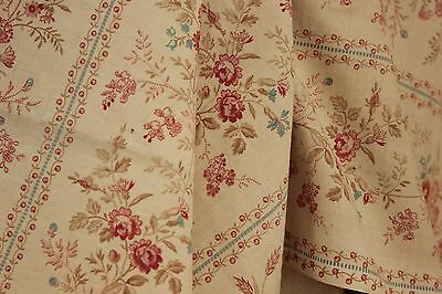 C 1890 floral French printed old cotton charming pink blue trailing vine design