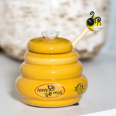Novelty Ceramic Honey Pot BeeHive Bee Wooden Dipper Spoon Storage Jar Canister