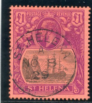 St Helena 1922 KGV £1 grey & purple/red very fine used. SG 96. Sc 99.