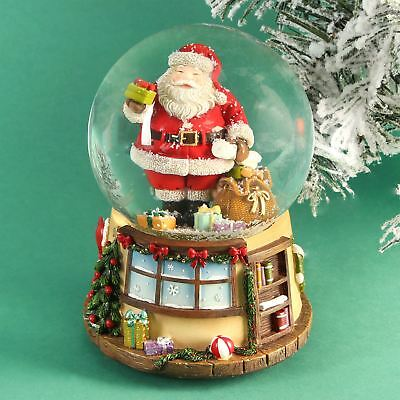 Hand Painted Musical Santa Snow Globe Plays We Wish You A Merry Christmas