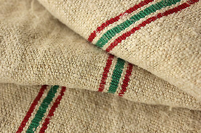 Vintage homespun Christmas table runner fabric red + green striped HEMP 2. 6 yds