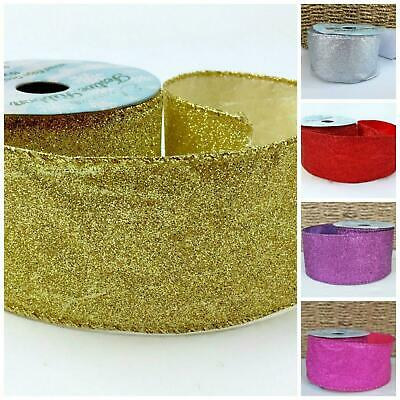 Sparkly Wired Christmas Ribbon 63mm Wide Red, Gold silver or pink SOLD PER METRE