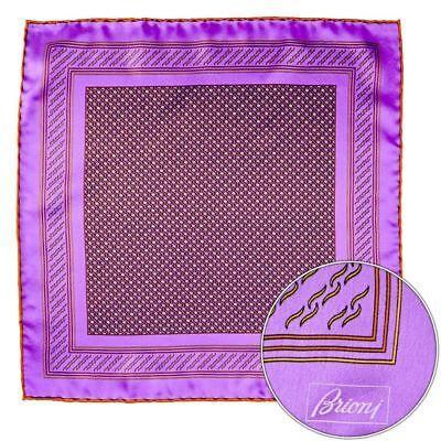Men's BRIONI Purple Copper Circles Silk Hand Rolled Pocket Square Handkerchief