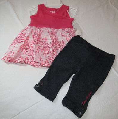 Calvin Klein 12M months  CK  outfit girls 2 pc Dress pants 3602013 pink NWT^^